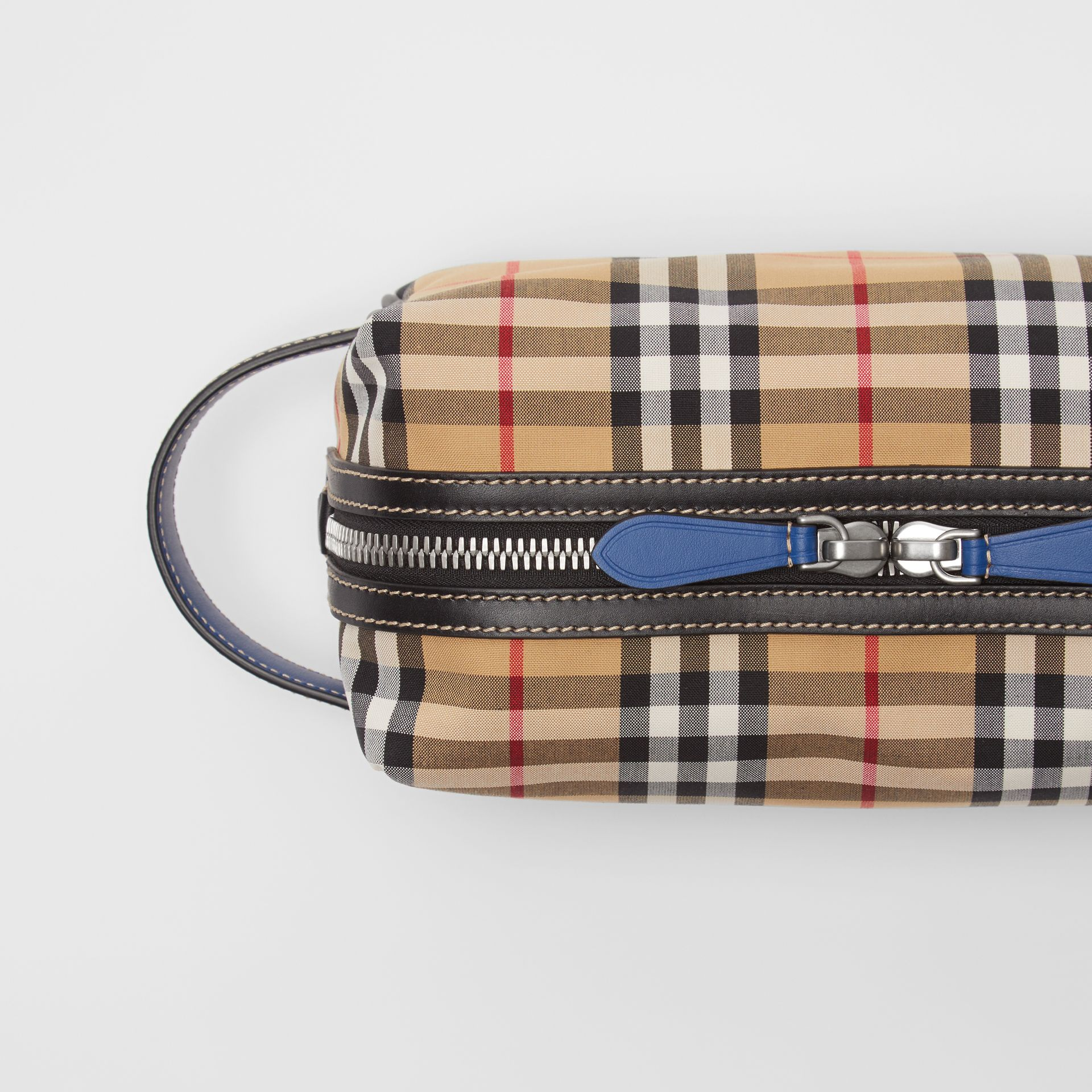Vintage Check and Leather Pouch in Dark Cyan | Burberry Australia - gallery image 1