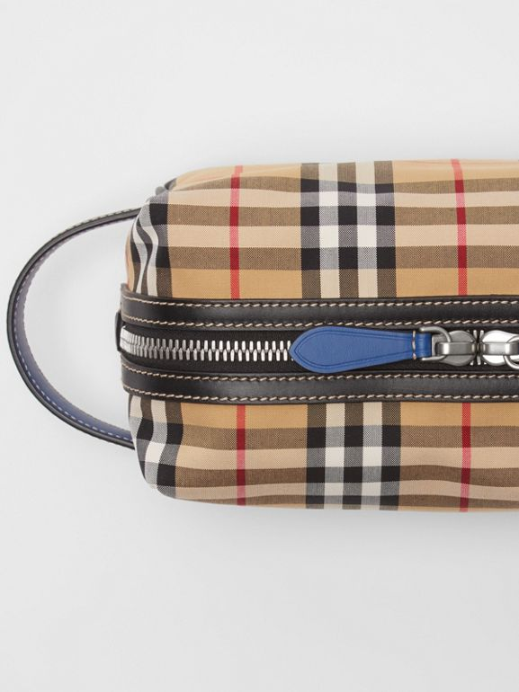 Vintage Check and Leather Pouch in Dark Cyan | Burberry Australia - cell image 1