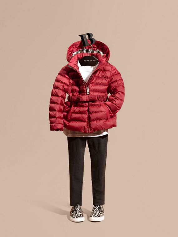 Bow Detail Puffer Jacket Dark Plum Pink
