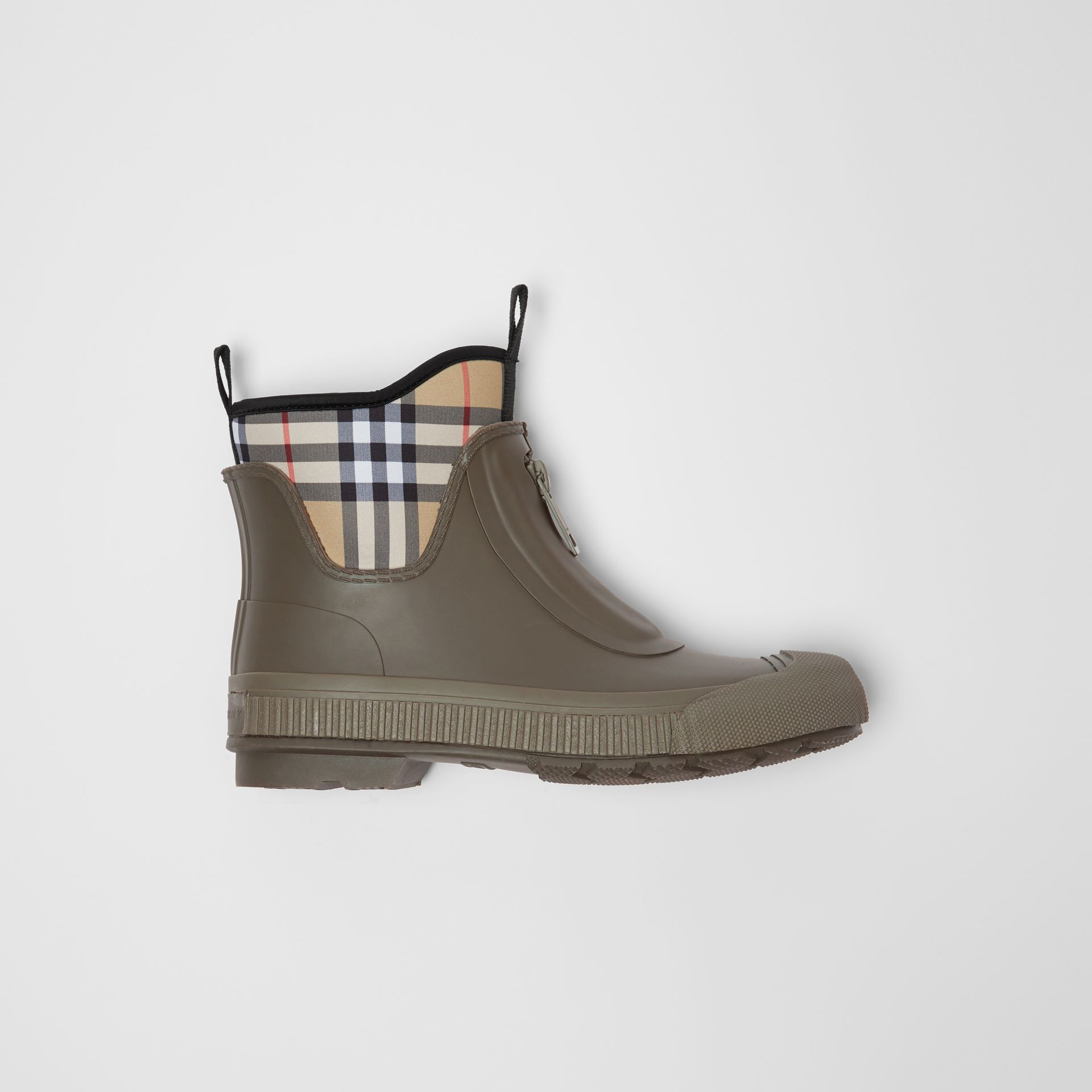 Vintage Check Neoprene and Rubber Rain Boots in Military Green - Women | Burberry - gallery image 5