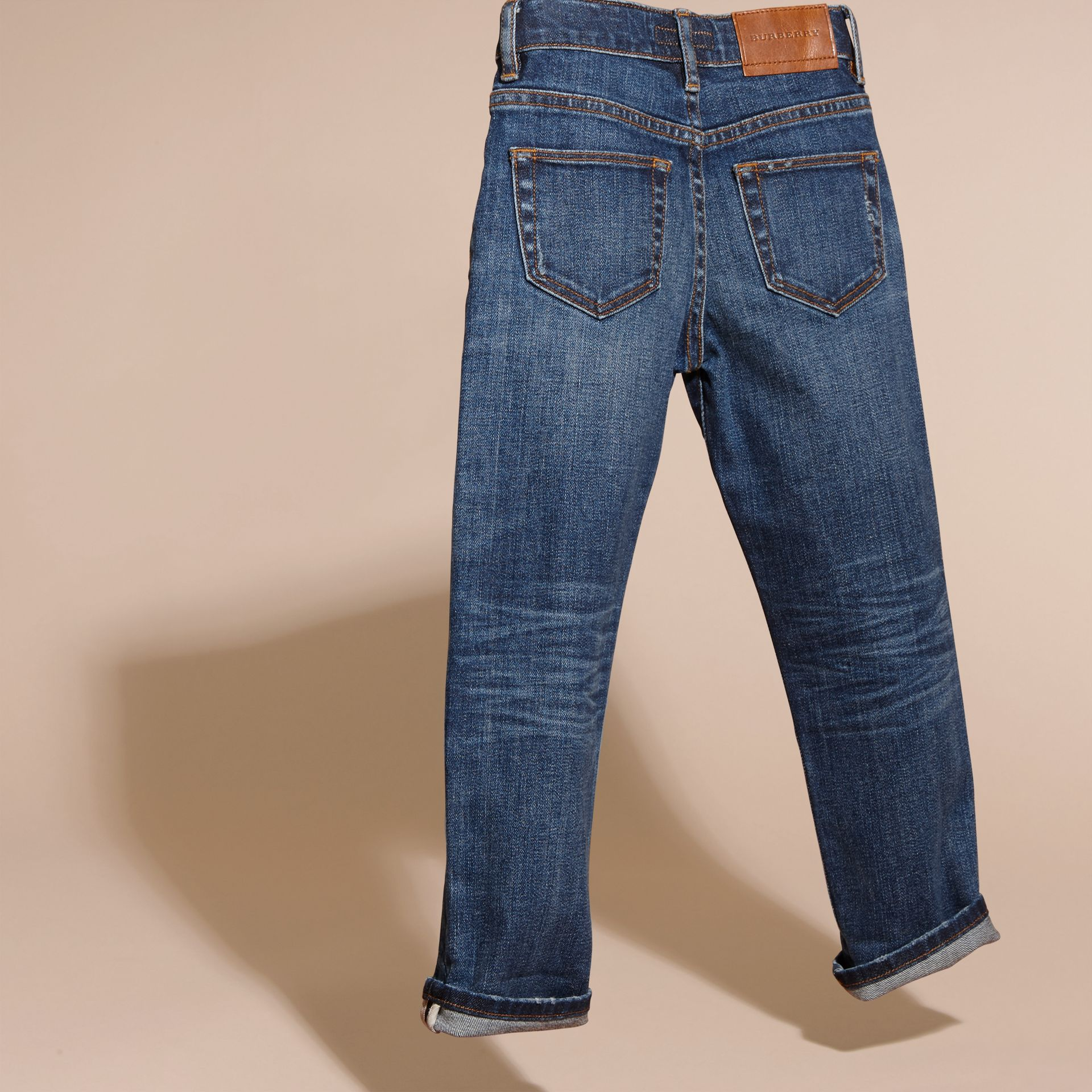 Indigo Relaxed Fit Japanese Stretch Denim Jeans - gallery image 4
