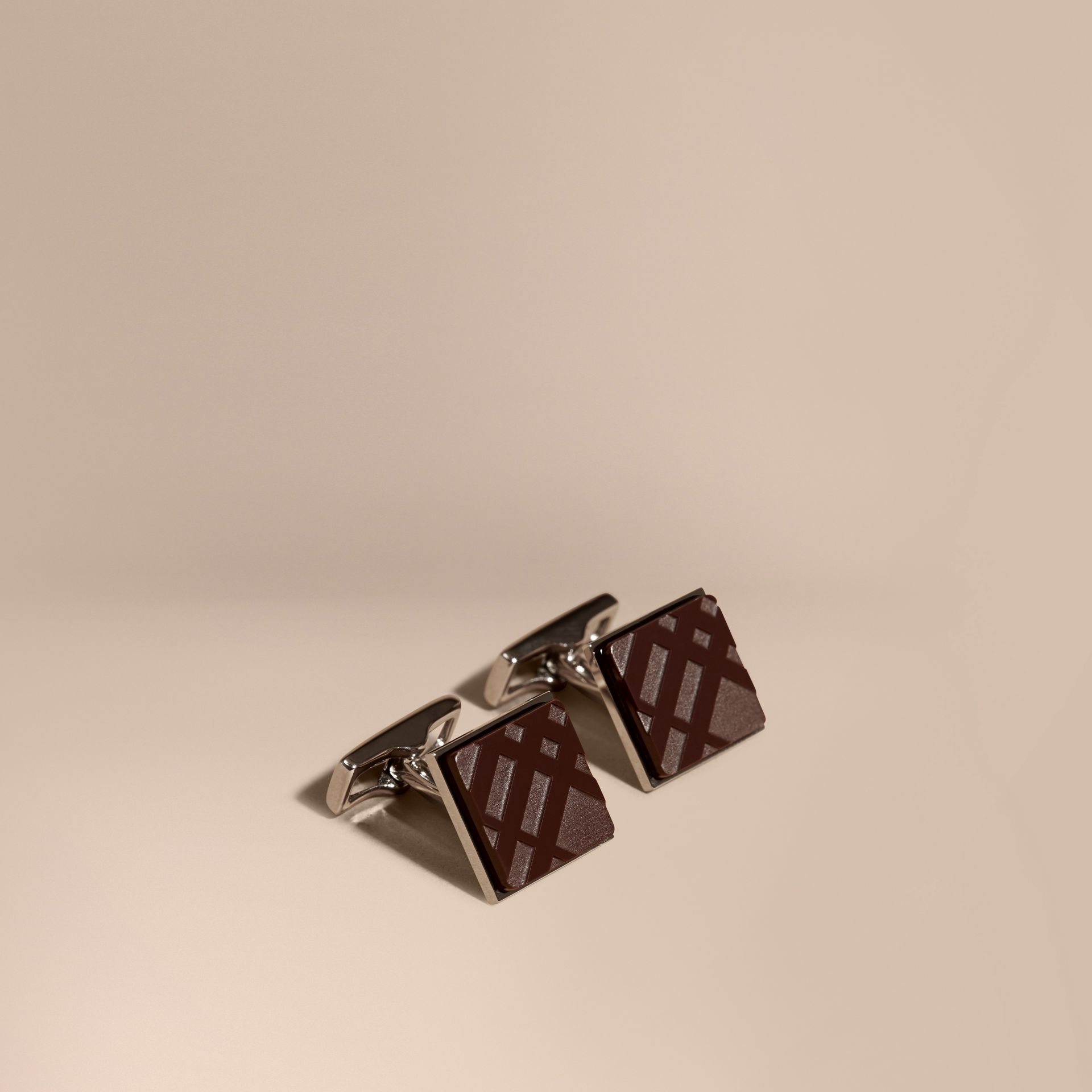 Claret Check-engraved Square Cufflinks Claret - gallery image 1