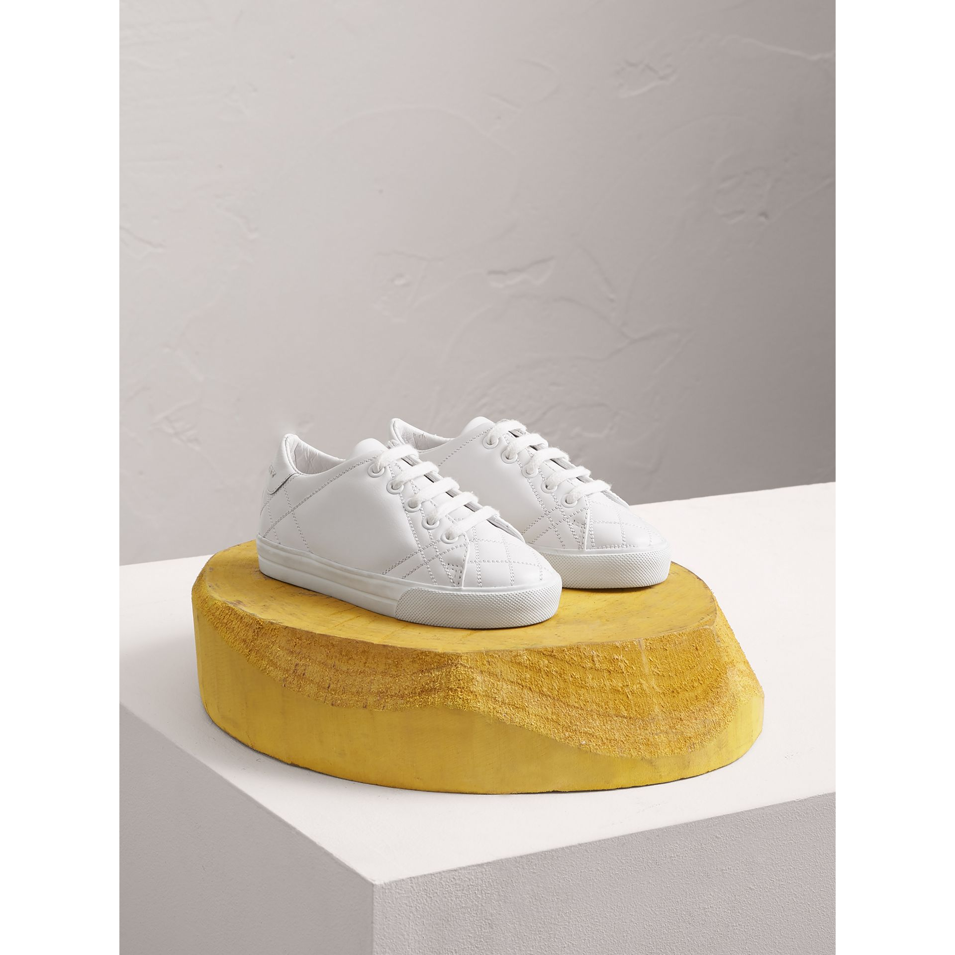 Check Detail Leather Sneakers in Optic White - Children | Burberry Canada - gallery image 0