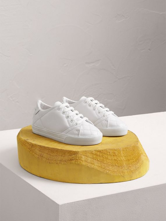 Check Detail Leather Sneakers in Optic White