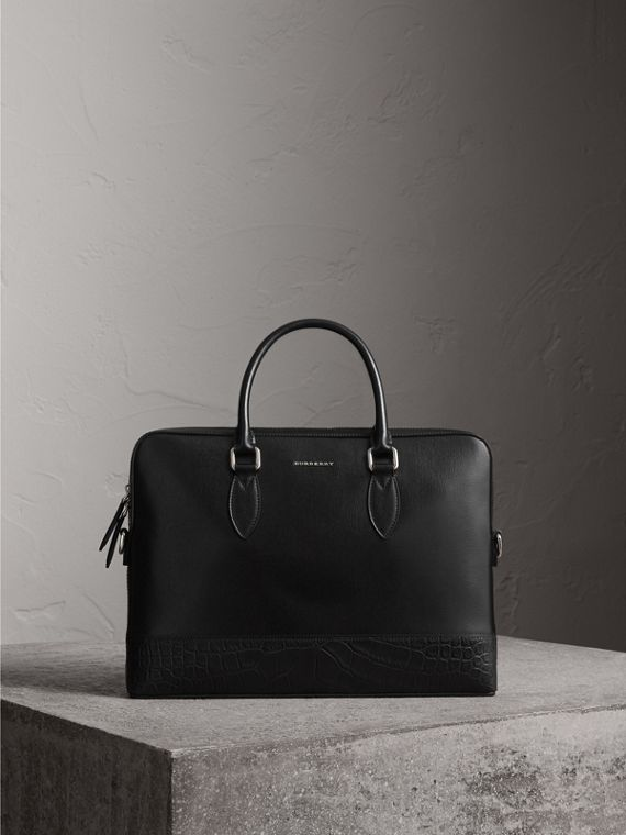 Sac The Barrow fin en cuir London et alligator (Noir) - Homme | Burberry