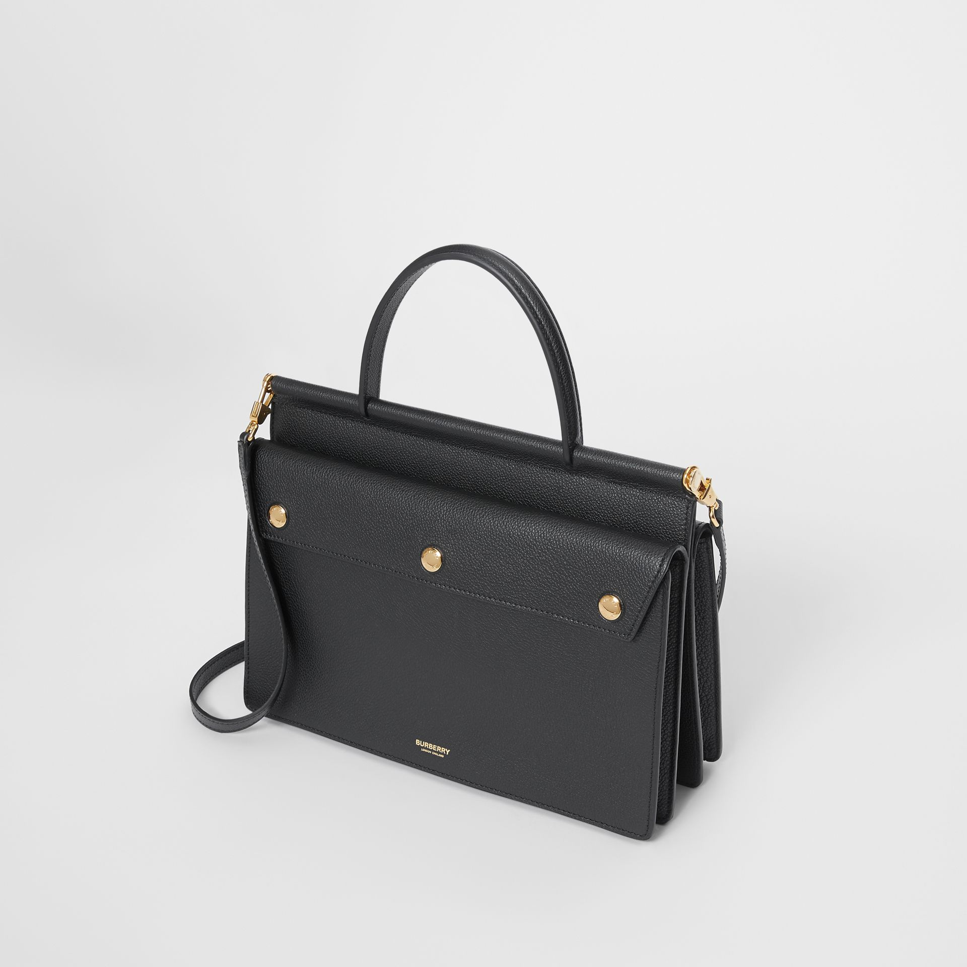 Small Leather Title Bag with Pocket Detail in Black - Women | Burberry - gallery image 3