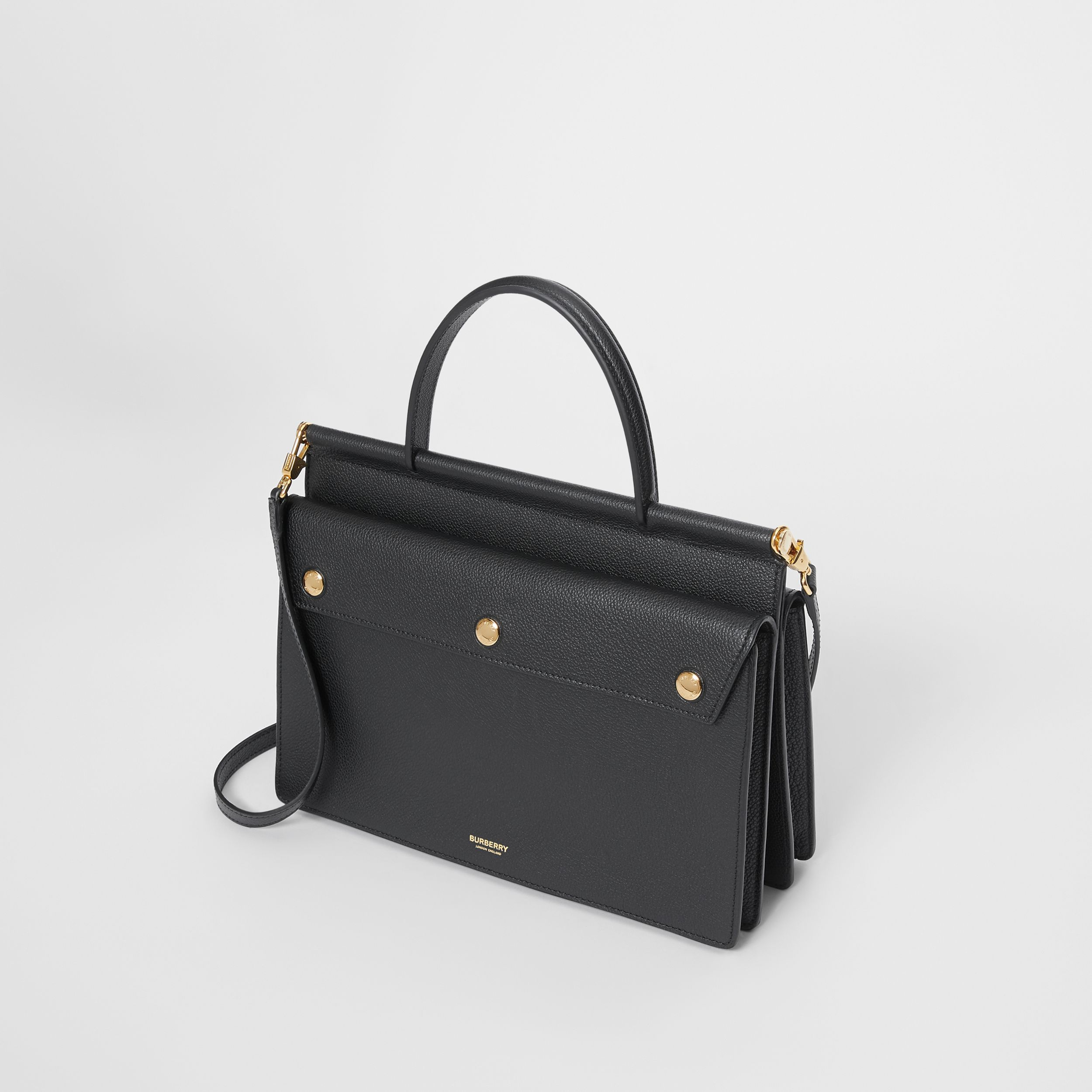 Small Leather Title Bag with Pocket Detail in Black - Women | Burberry - 4