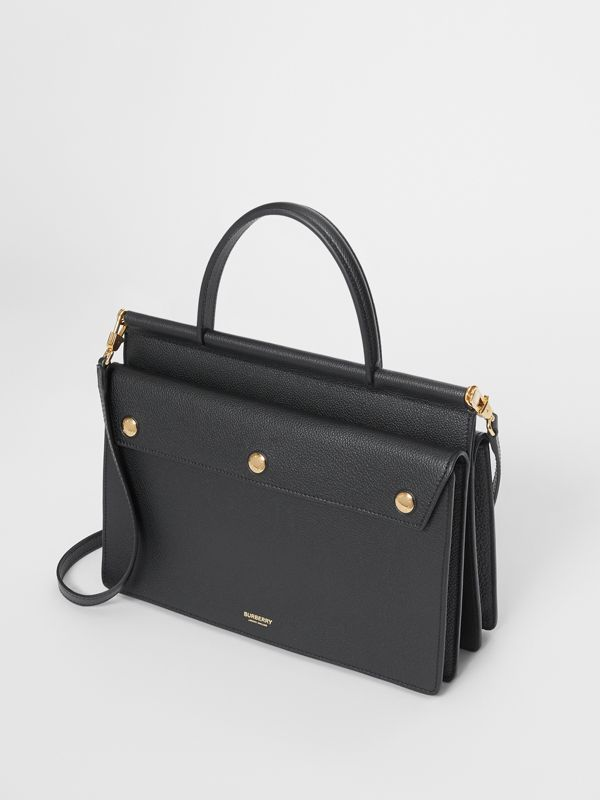 Small Leather Title Bag with Pocket Detail in Black - Women | Burberry - cell image 3