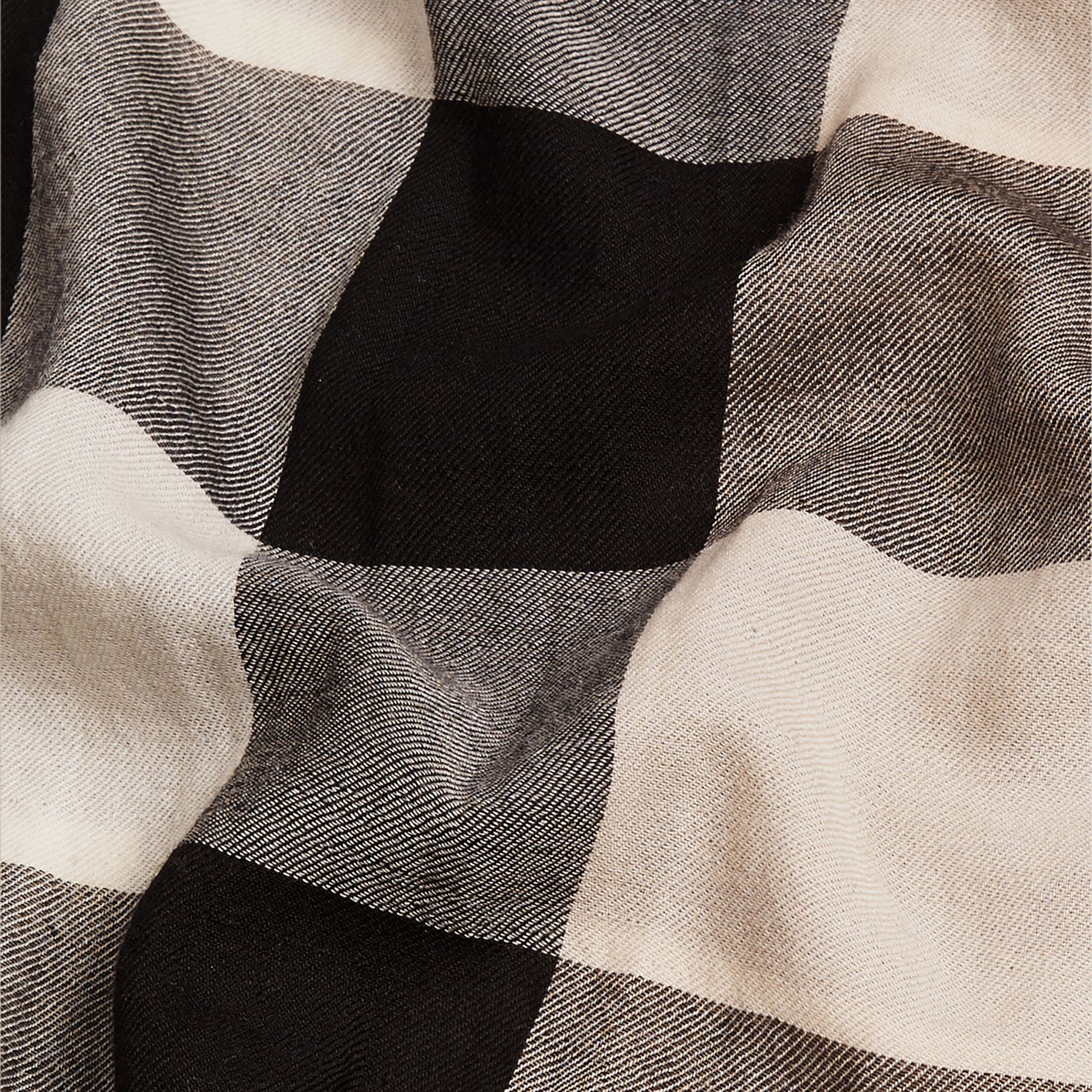 The Lightweight Cashmere Scarf in Check in Stone - gallery image 5