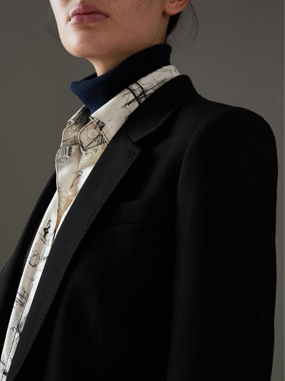 Slim Fit Topstitch Detail Wool Tailored Jacket in Black - Women | Burberry - cell image 1