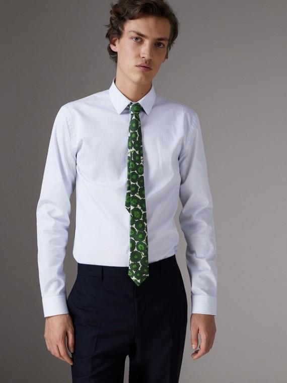 Рубашка из хлопка «добби» в полоску (Светло-голубой)