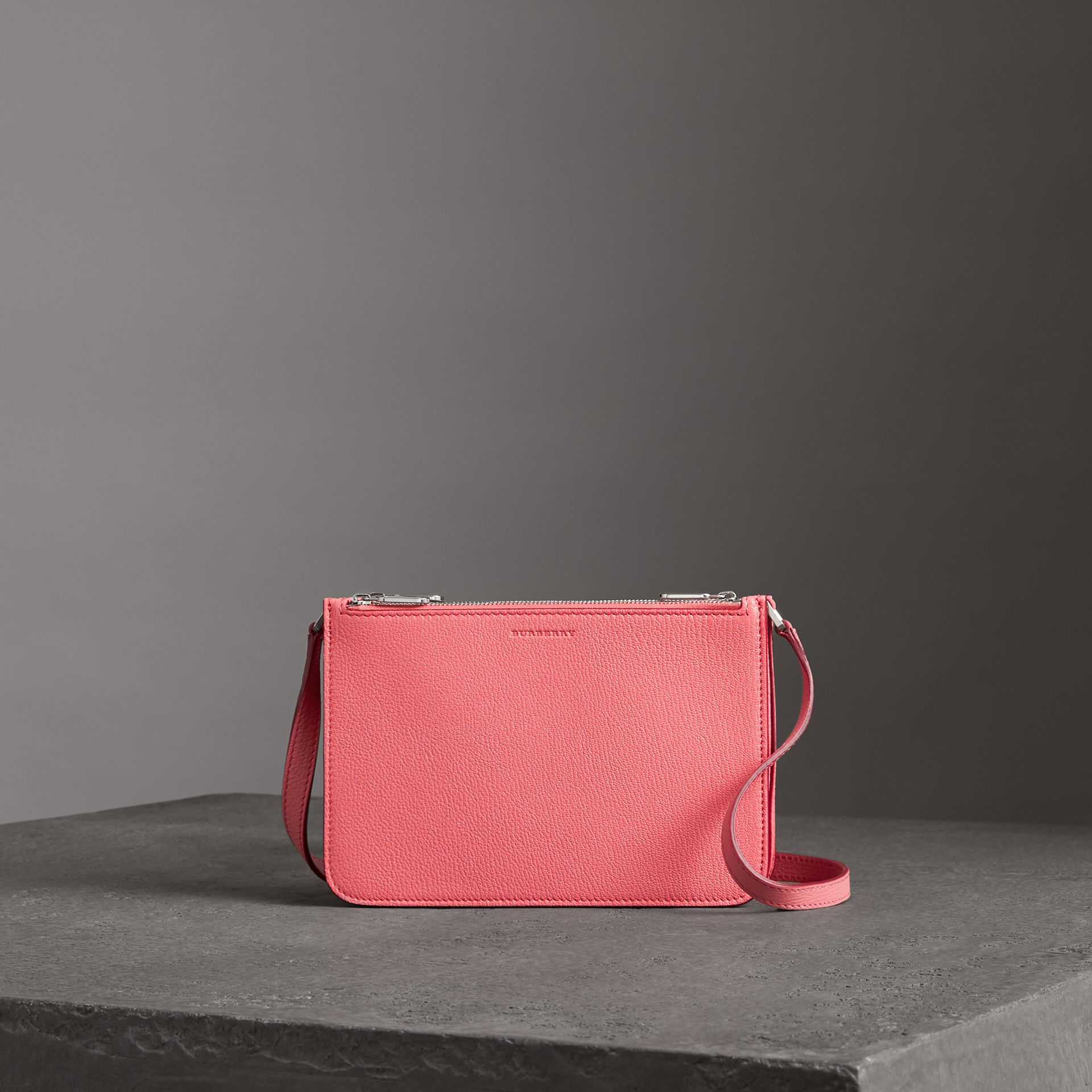 Triple Zip Grainy Leather Crossbody Bag in Bright Coral Pink - Women | Burberry Australia - gallery image 0