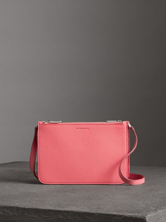 Triple Zip Grainy Leather Crossbody Bag in Bright Coral Pink
