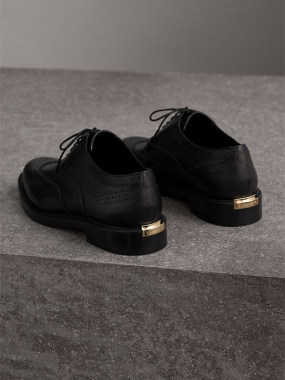 Leather Wingtip Brogues in Black - Women | Burberry - cell image 3