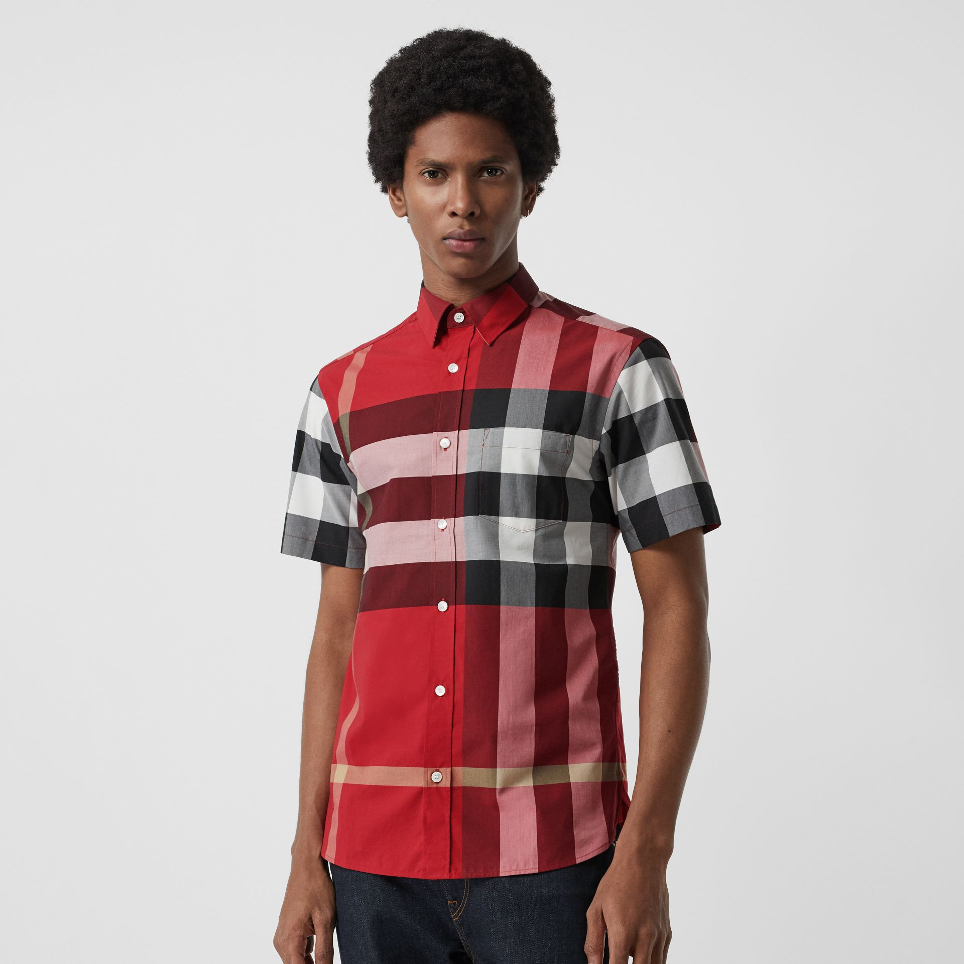Short-sleeve Check Stretch Cotton Shirt in Parade Red - Men | Burberry Australia - gallery image 0