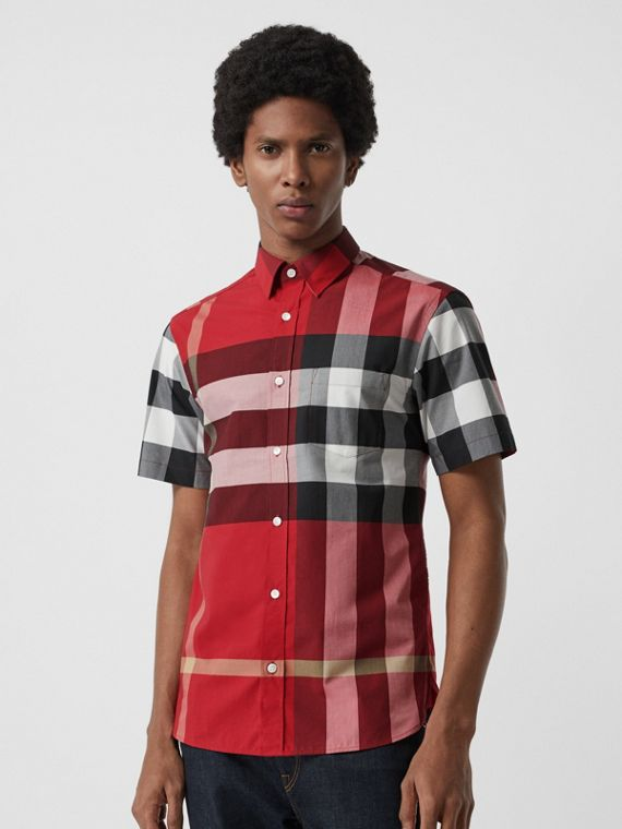 Short-sleeve Check Stretch Cotton Shirt in Parade Red
