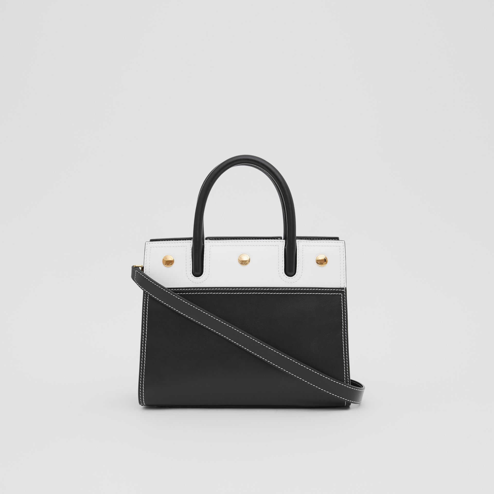 Mini Leather Two-handle Title Bag in Black/white - Women | Burberry - gallery image 5