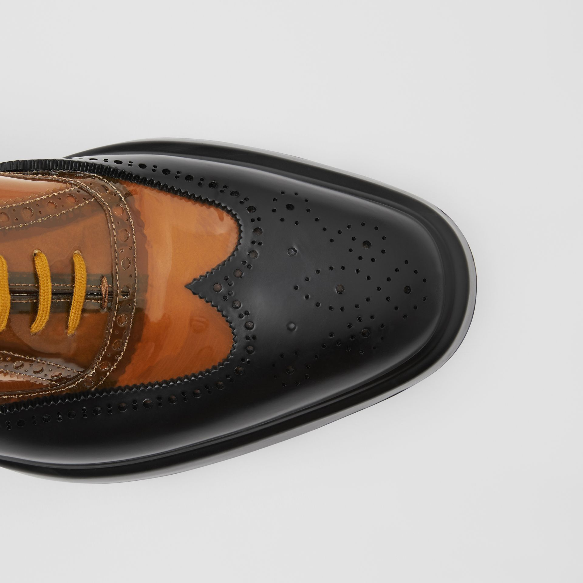 Toe Cap Detail Vinyl and Leather Oxford Brogues in Brown/black - Men | Burberry - gallery image 1