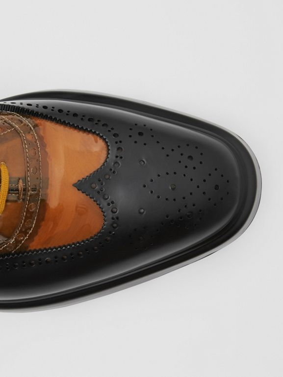 Toe Cap Detail Vinyl and Leather Oxford Brogues in Brown/black - Men | Burberry - cell image 1