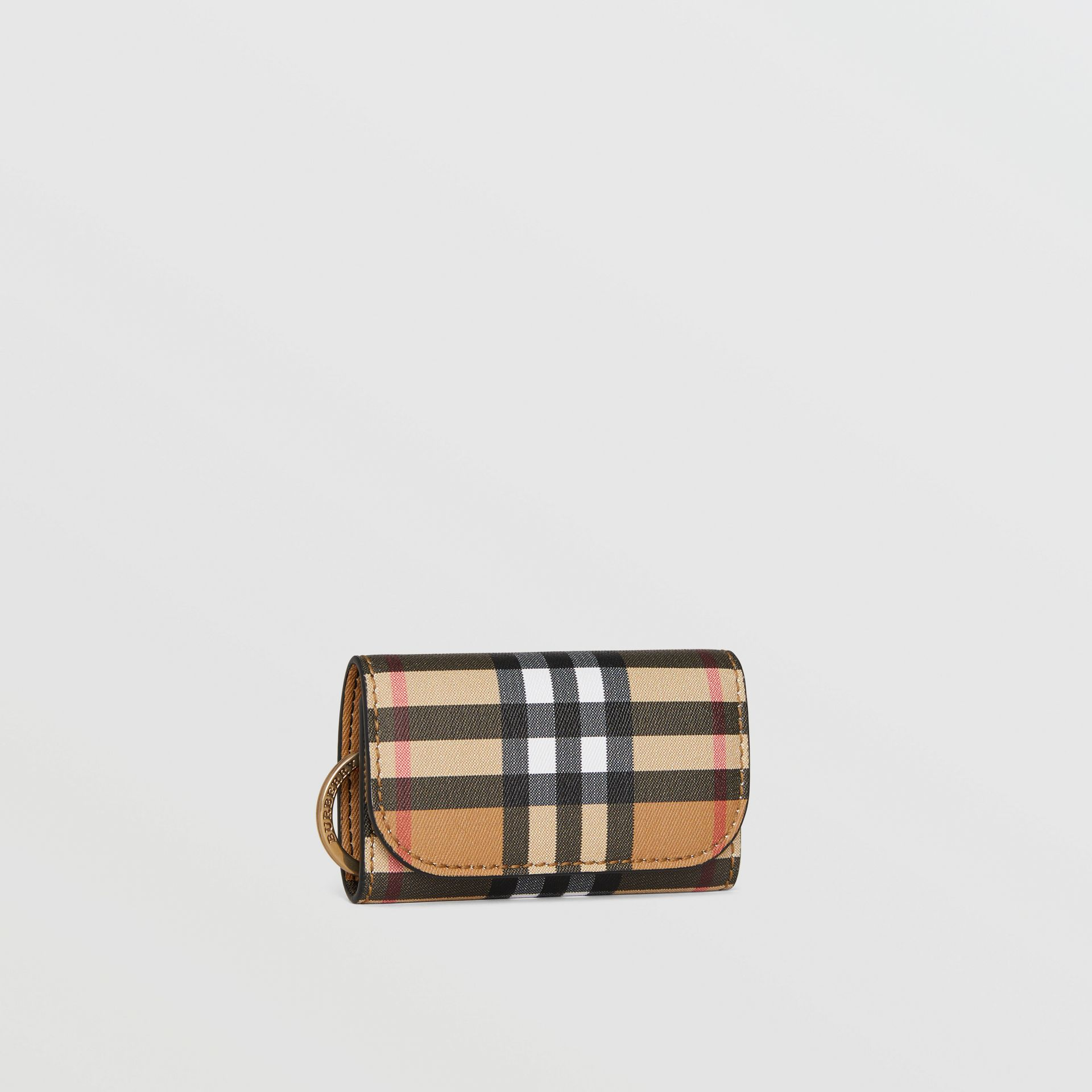 Vintage Check and Leather Key Case in Black - Women | Burberry - gallery image 4