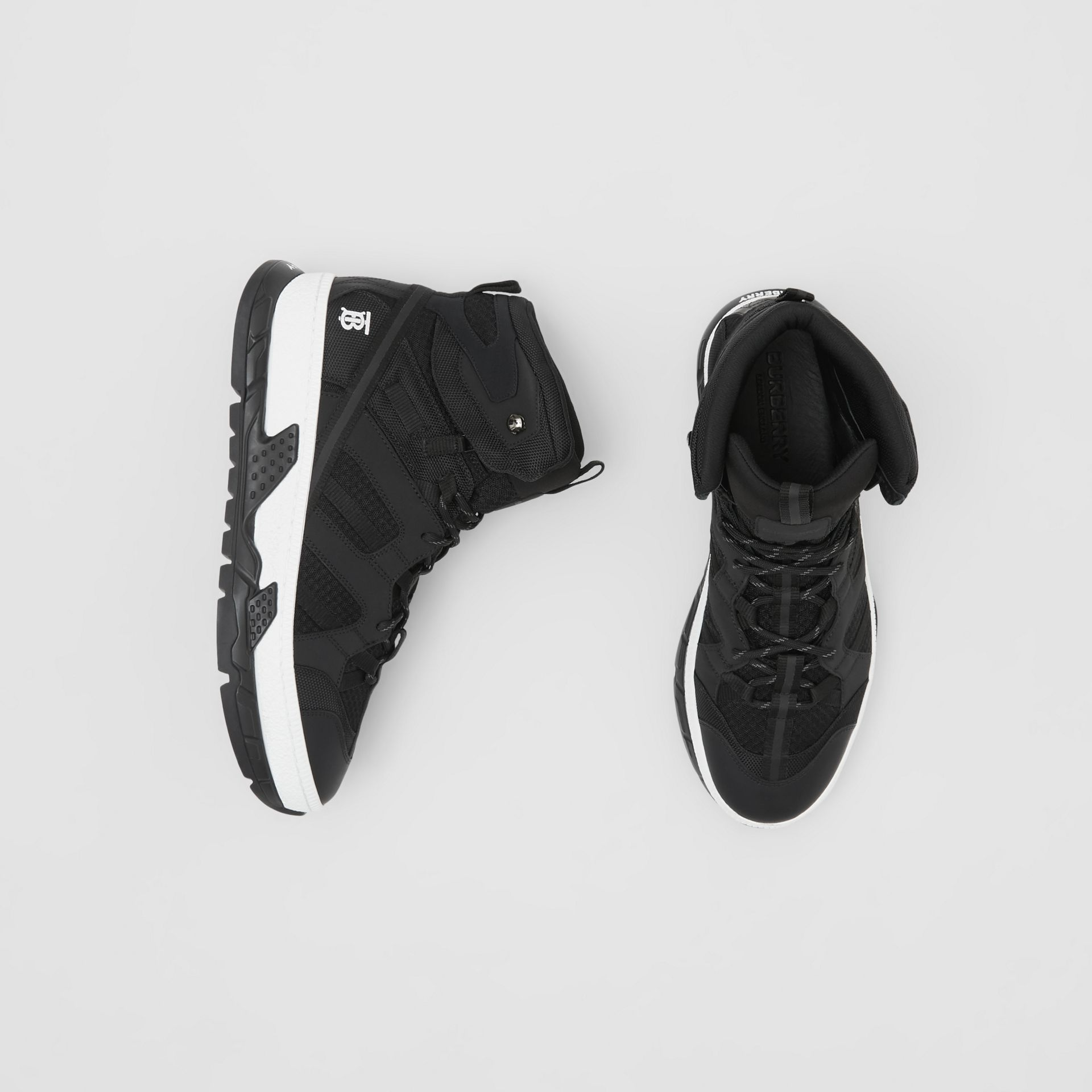 Sneakers montantes Union en filet et nubuck (Noir) - Homme | Burberry - photo de la galerie 0
