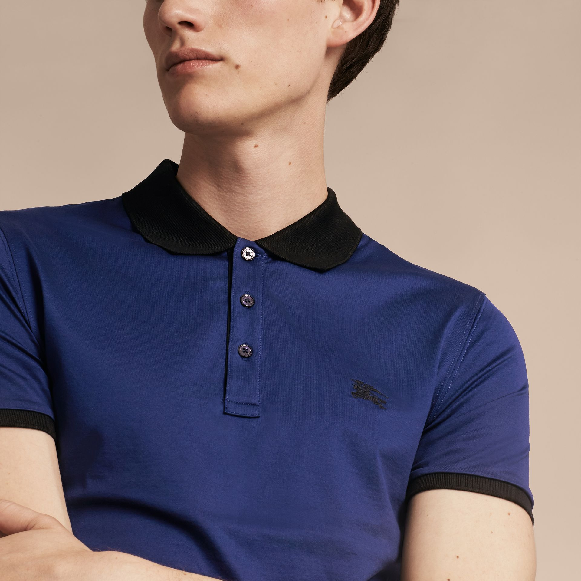 Indigo Fitted Cotton Polo Shirt with Tonal Trim Indigo - gallery image 5