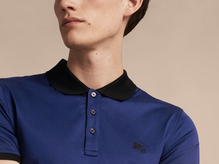 Indigo Fitted Cotton Polo Shirt with Tonal Trim Indigo - cell image 4