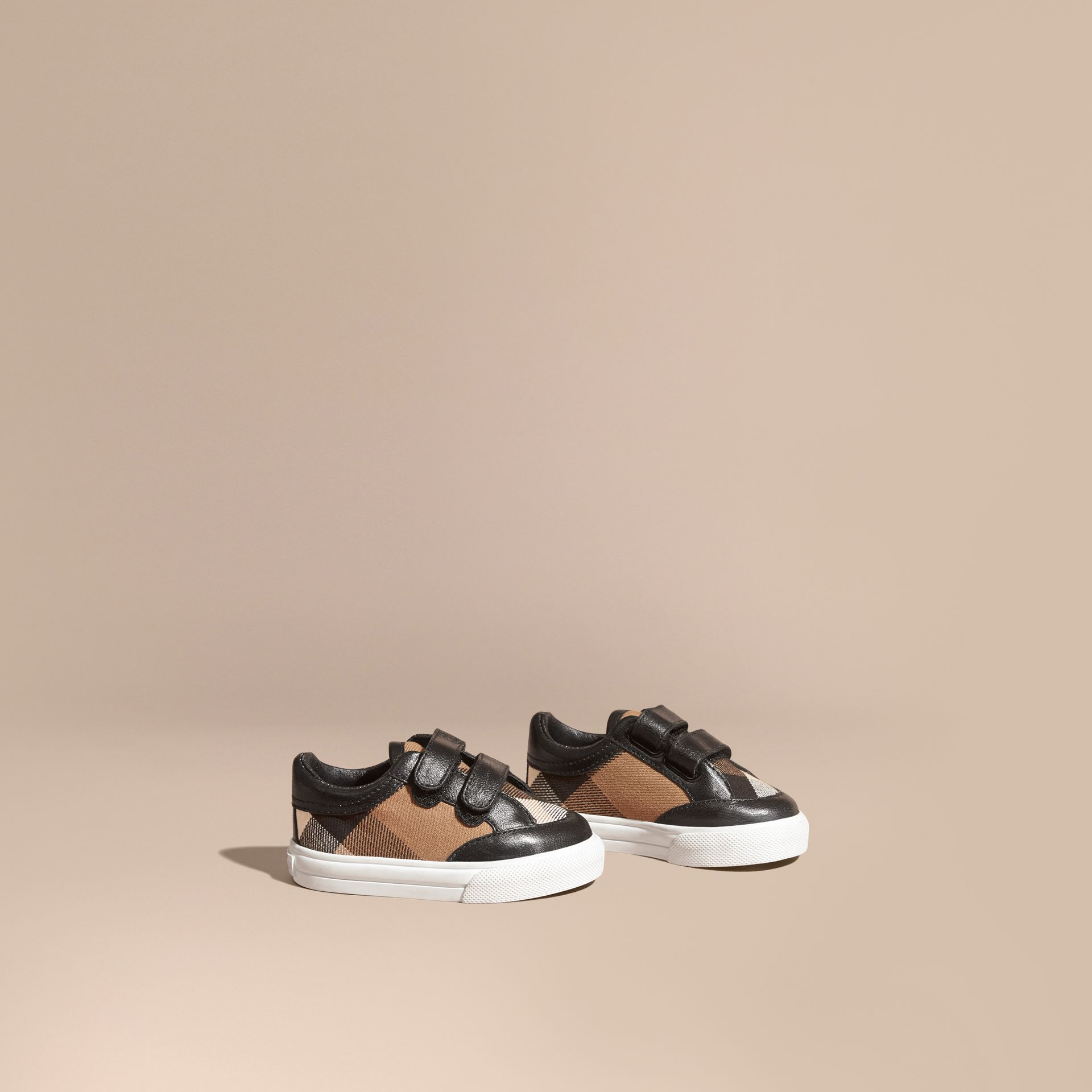 House Check and Leather Trainers in Black | Burberry Canada - gallery image 1