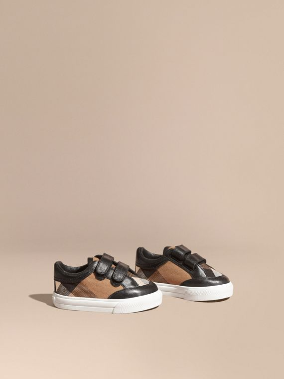 House Check and Leather Trainers in Black | Burberry Australia
