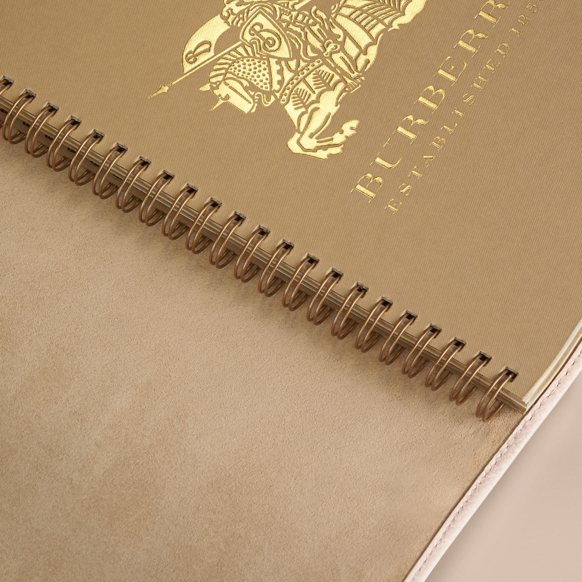 Grainy Leather A5 Notebook in Stone | Burberry - gallery image 3