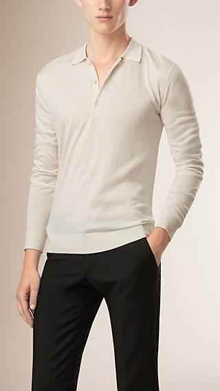 Long-Sleeved Knitted Silk Cashmere Polo Shirt
