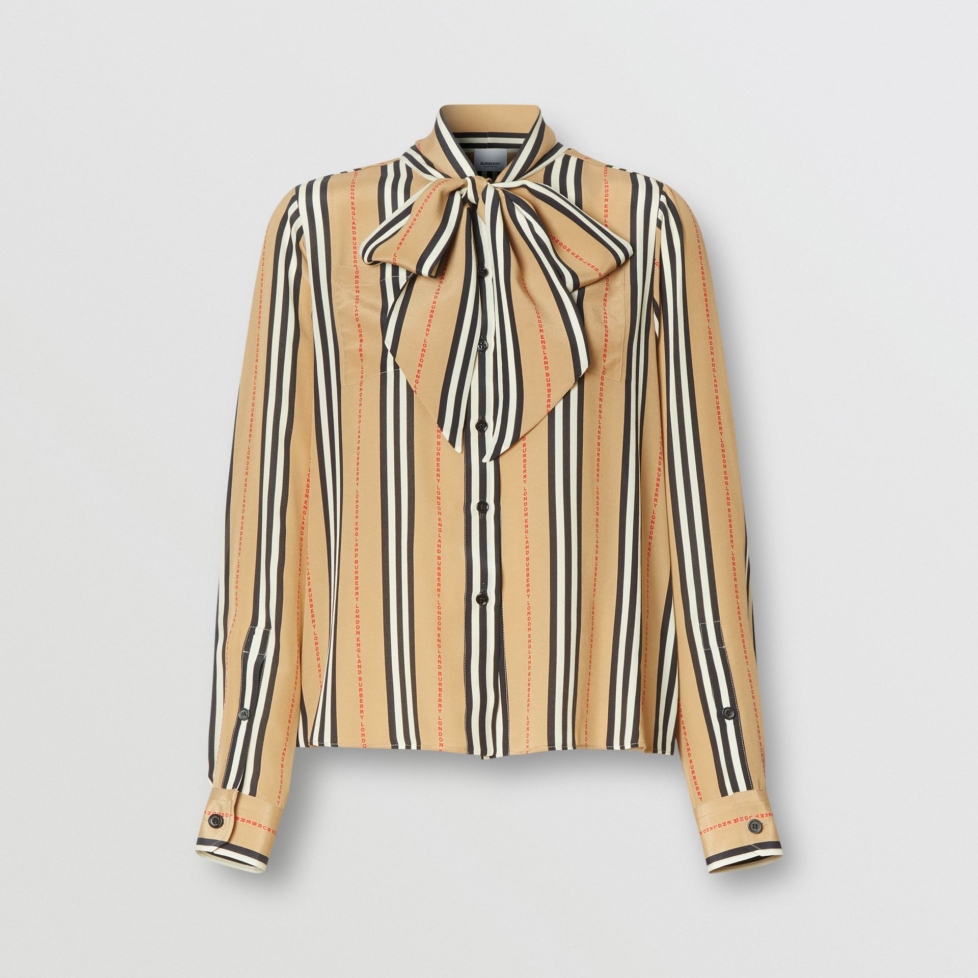 Logo Print Icon Stripe Silk Chiffon Pussy-bow Blouse in Archive Beige - Women | Burberry - gallery image 3