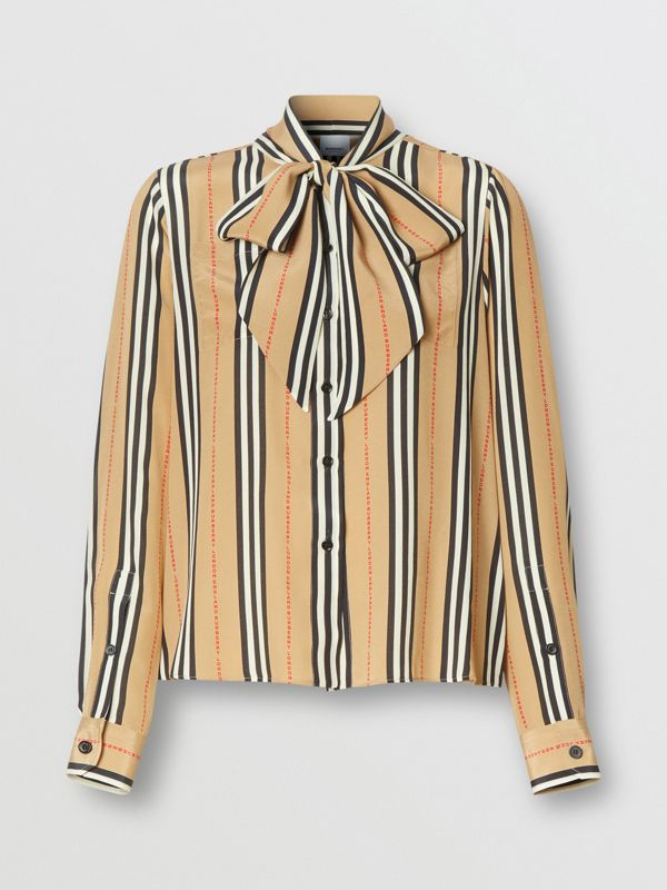 Logo Print Icon Stripe Silk Chiffon Pussy-bow Blouse in Archive Beige - Women | Burberry - cell image 3