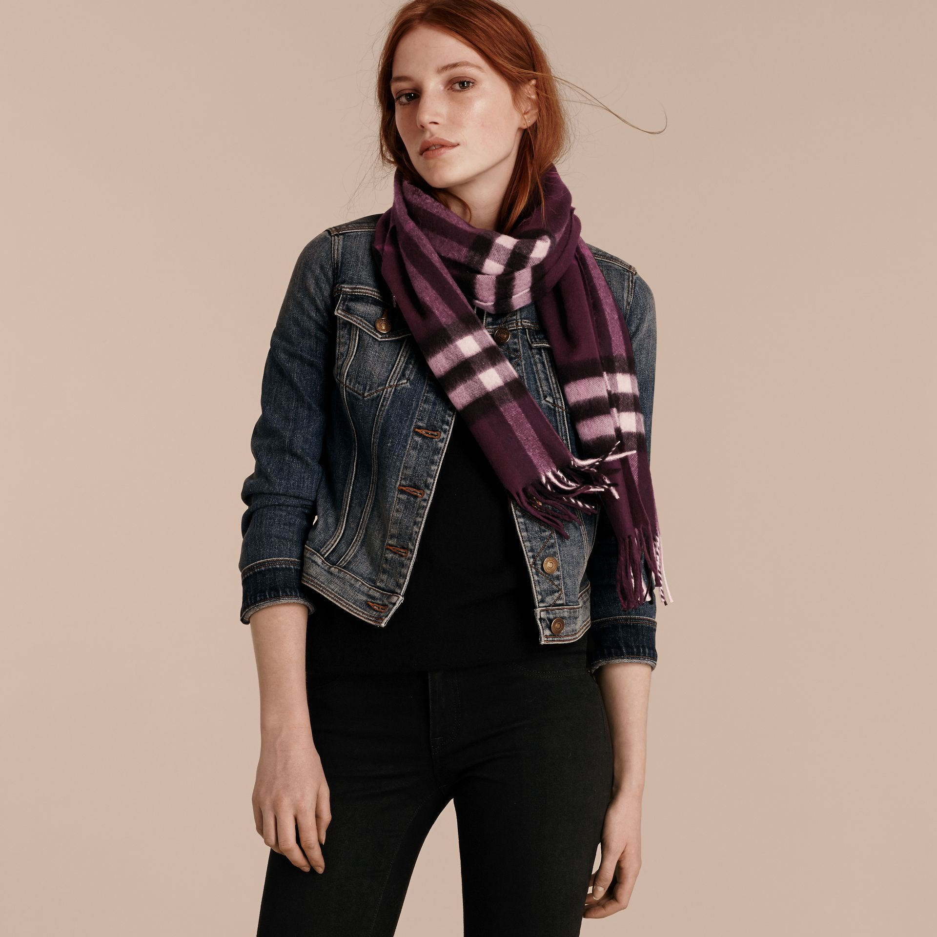 The Classic Cashmere Scarf in Check Aubergine - gallery image 3