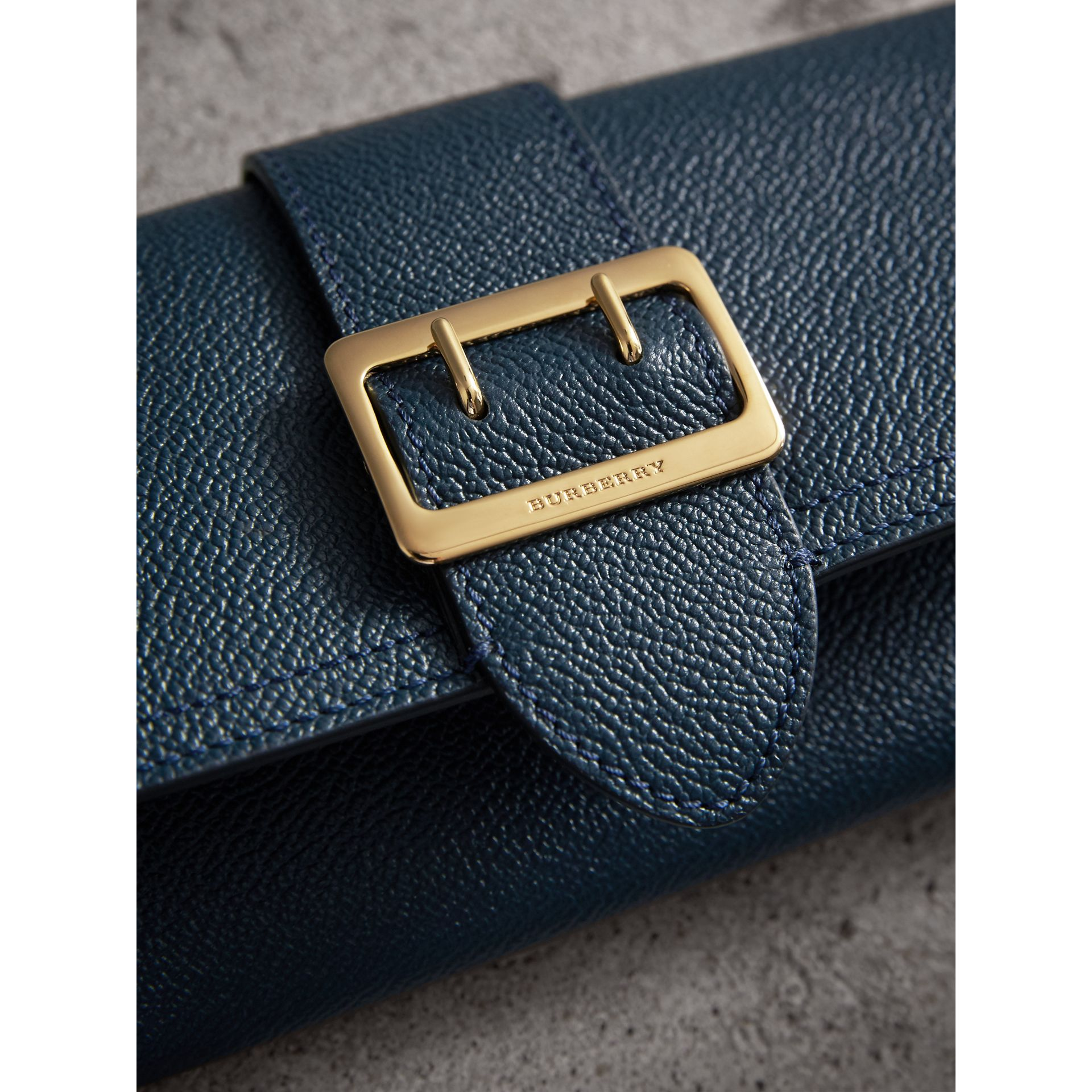 Textured Leather Continental Wallet in Blue Carbon - Women | Burberry - gallery image 5