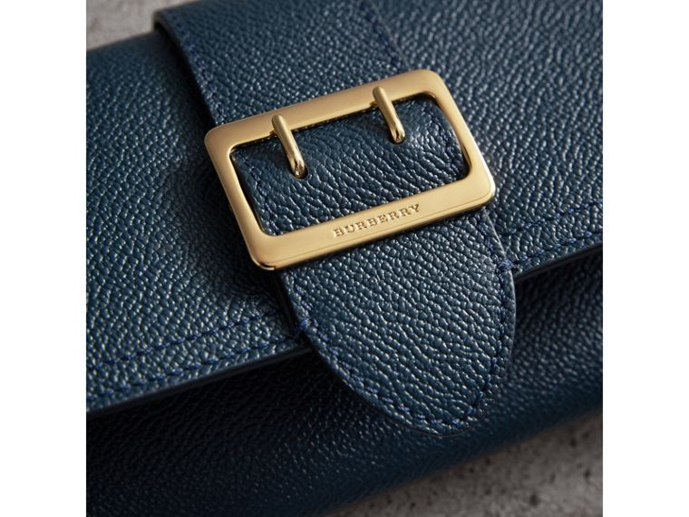Textured Leather Continental Wallet in Blue Carbon - Women | Burberry Australia - cell image 4