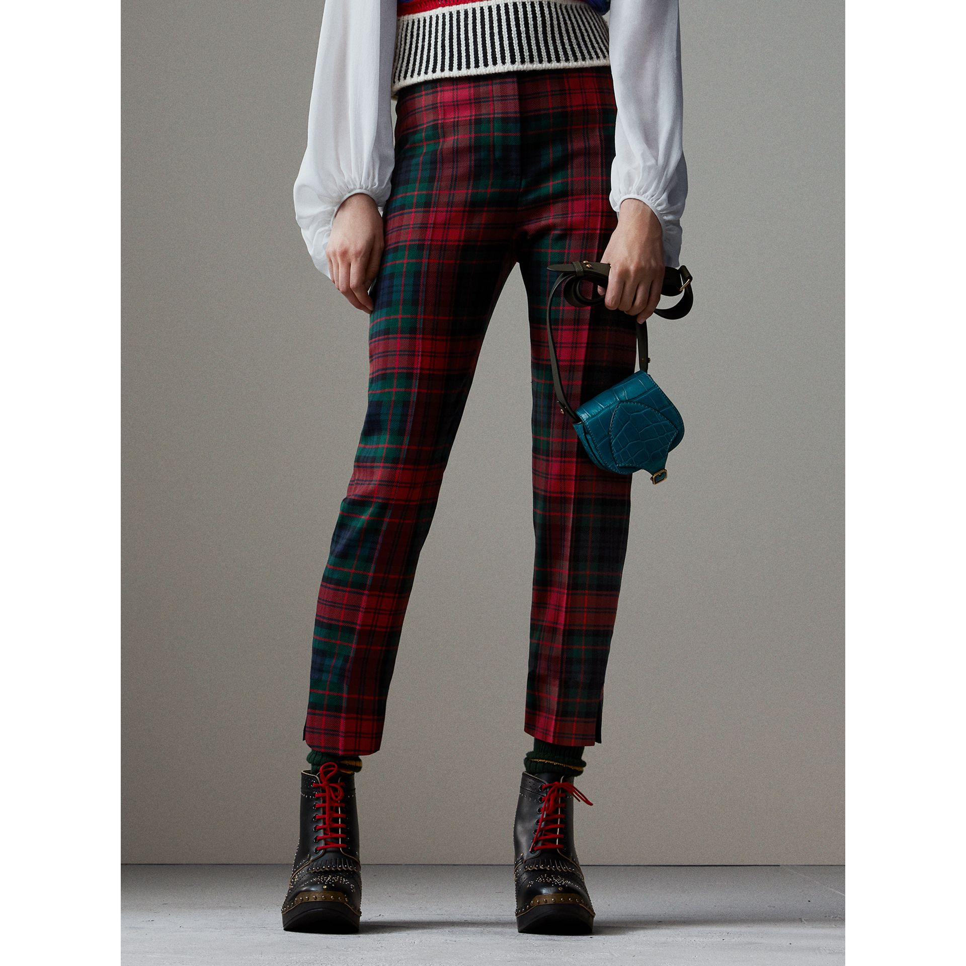 Tartan Wool High-waisted Trousers in Bright Red - Women | Burberry - gallery image 7