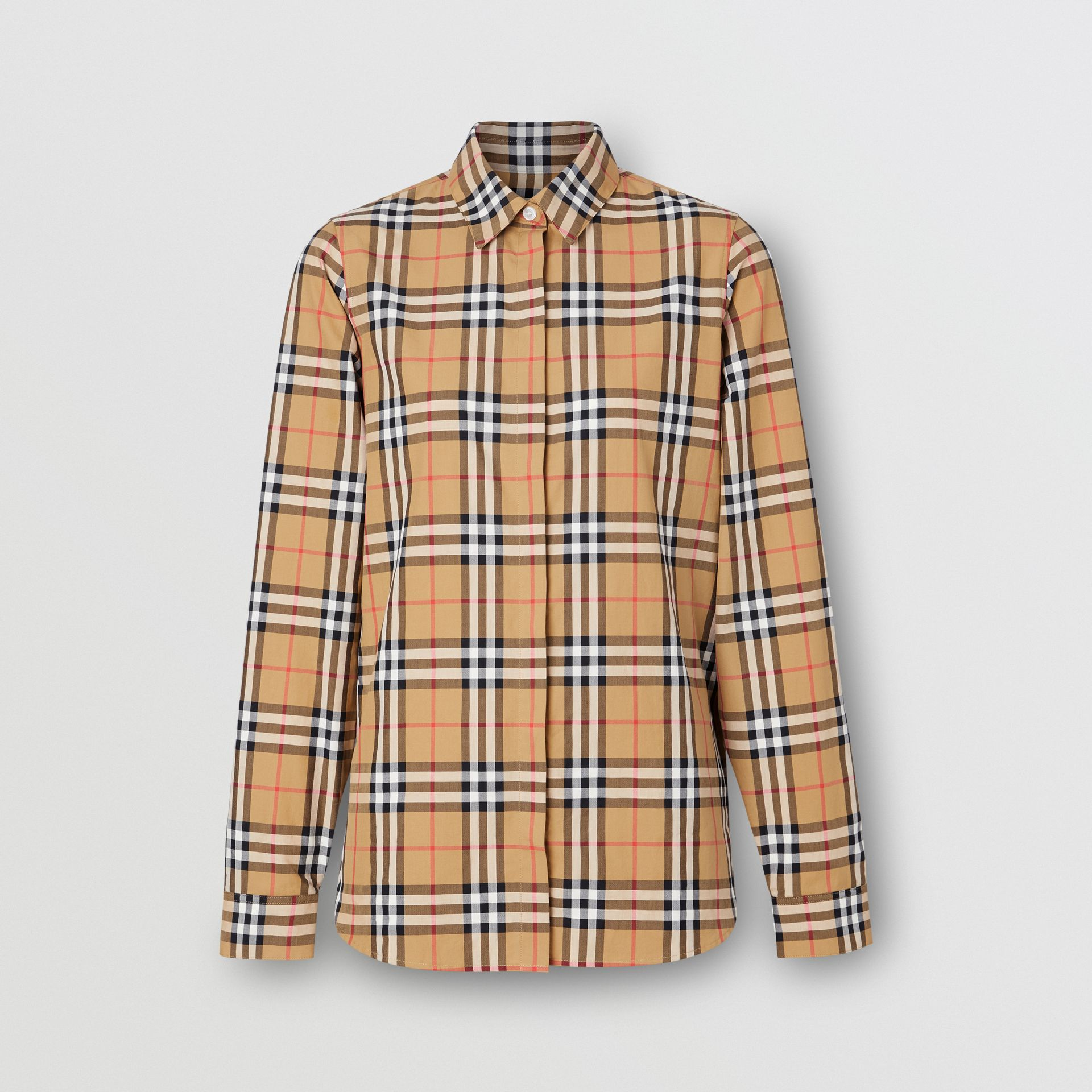 Chemise en coton Vintage check (Jaune Antique) - Femme | Burberry - photo de la galerie 3