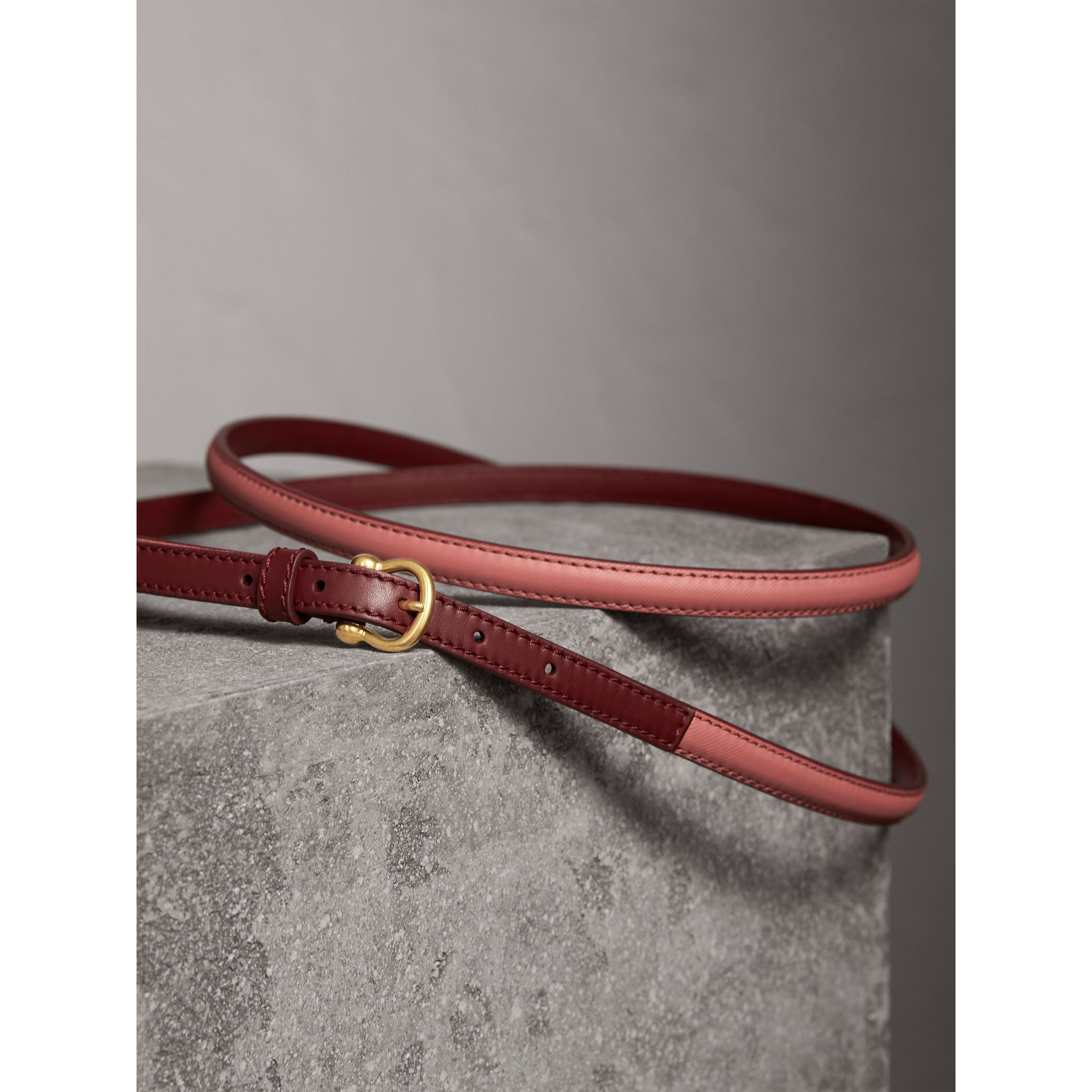 Two-tone Trench Leather Belt in Blossom Pink/ Antique Red - Women | Burberry Australia - gallery image 3