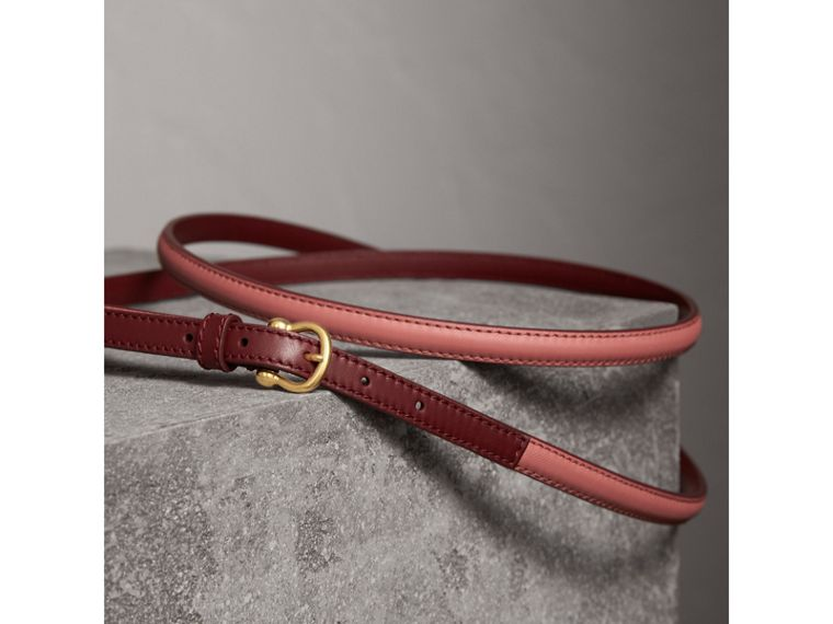 Two-tone Trench Leather Belt in Blossom Pink/ Antique Red - Women | Burberry Australia - cell image 2