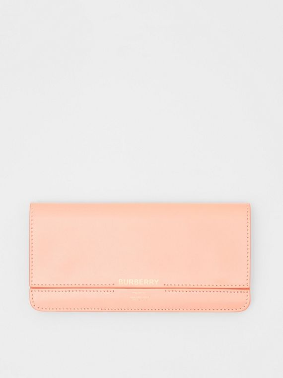Horseferry Embossed Leather Continental Wallet in Blush Pink