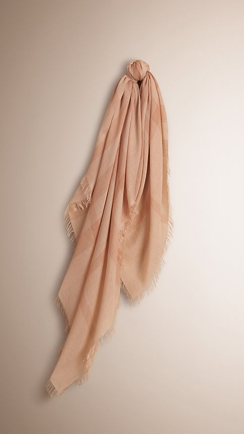 Pale nude chk Check Cashmere Square - Large - Image 1