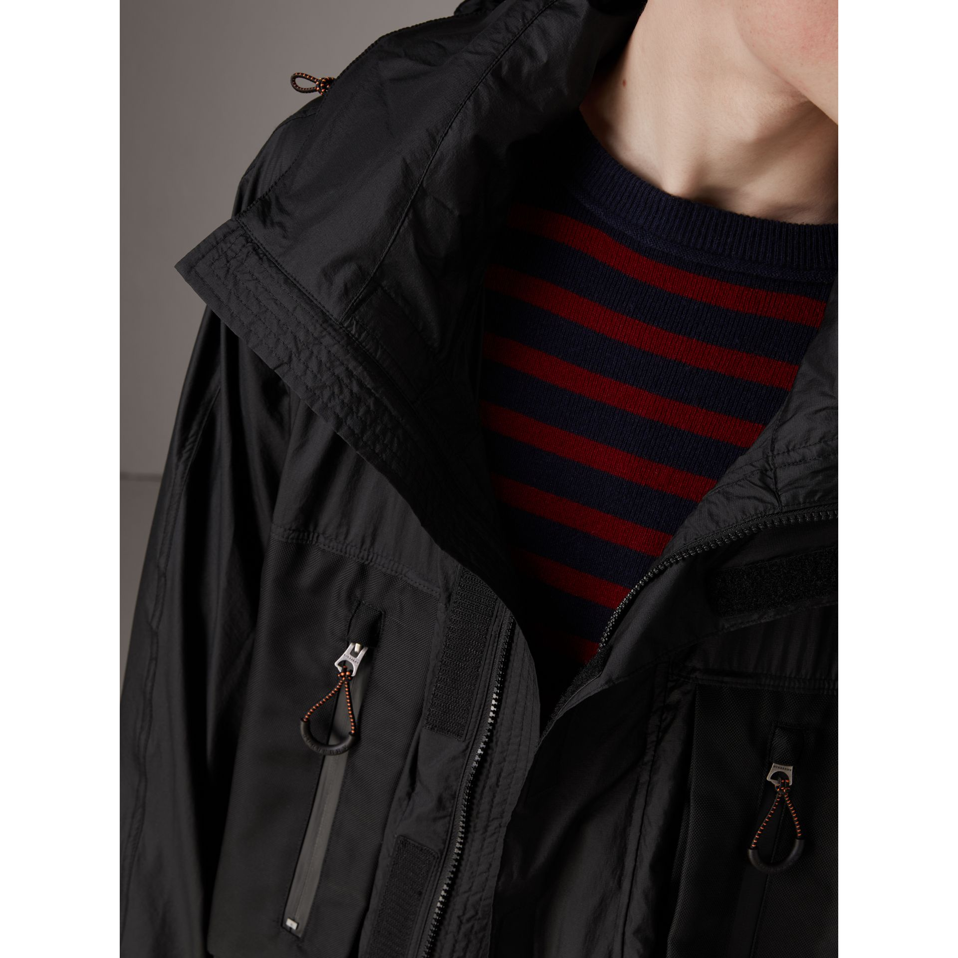 Packaway Hood Funnel-neck Jacket in Black - Men | Burberry Hong Kong - gallery image 1