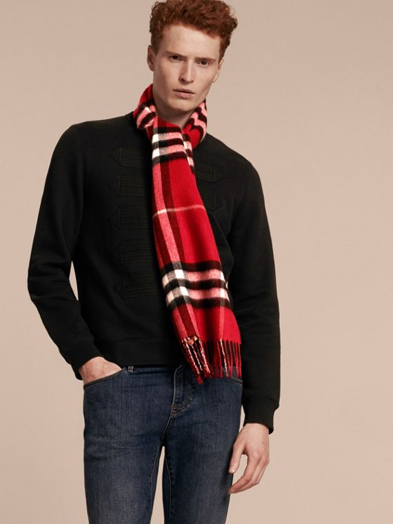 Reversible Metallic Check Cashmere Scarf in Parade Red - cell image 3