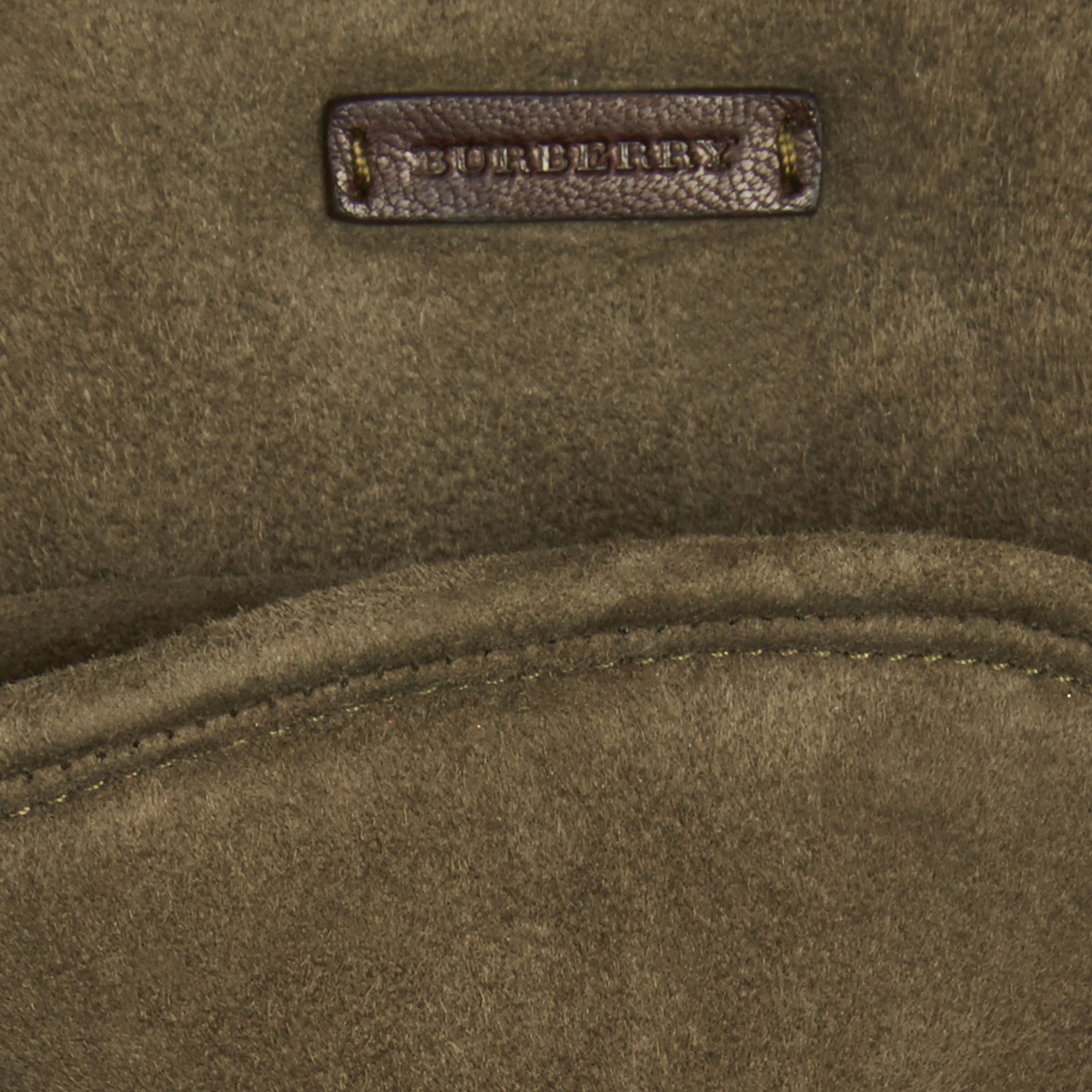 Military olive Shearling-lined Suede Gloves - gallery image 2