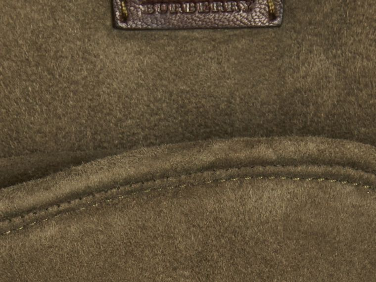 Military olive Shearling-lined Suede Gloves - cell image 1
