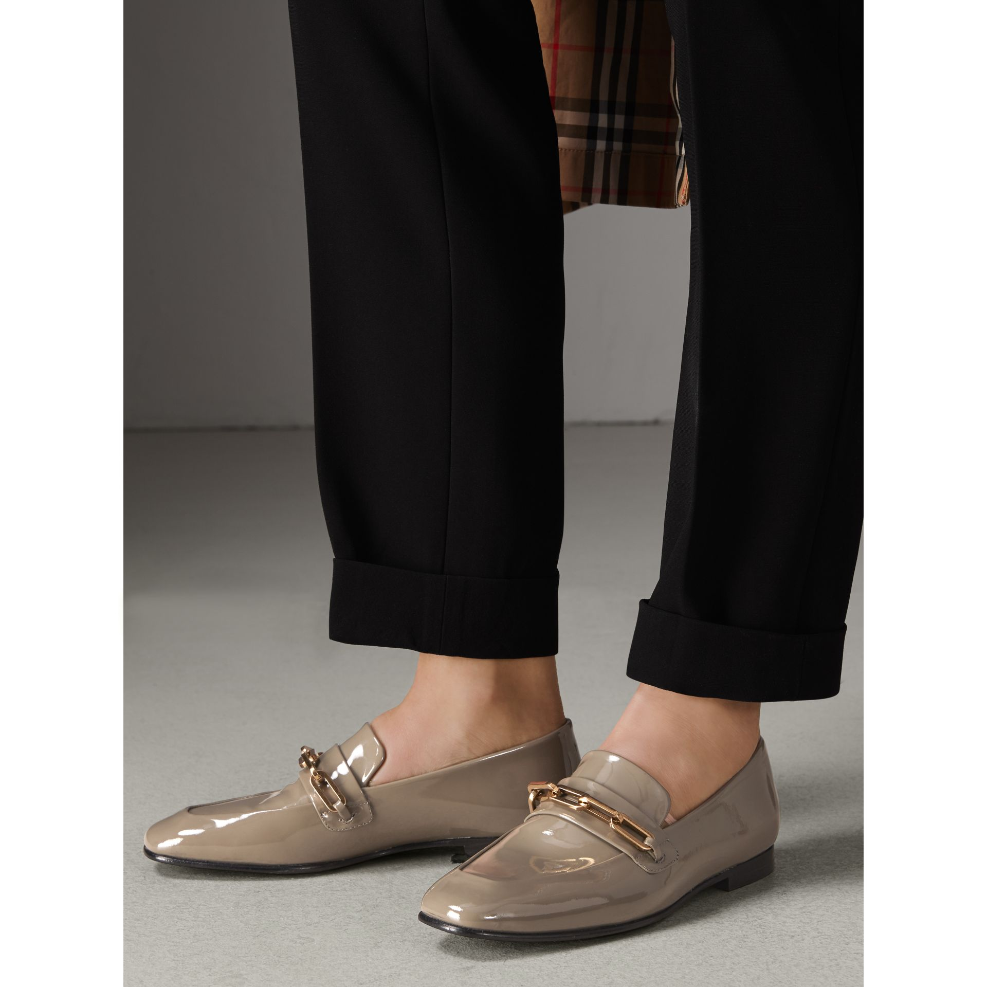 Link Detail Patent Leather Loafers in Taupe Grey - Women | Burberry Canada - gallery image 2