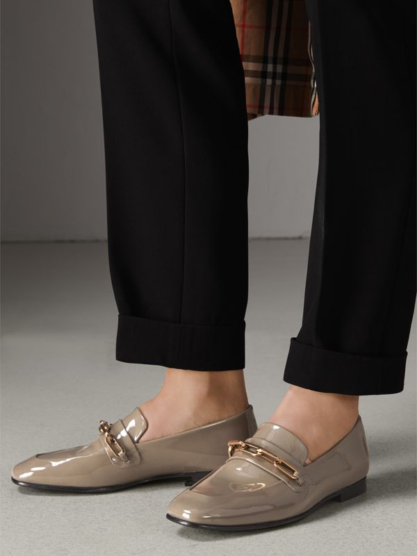 Link Detail Patent Leather Loafers in Taupe Grey - Women | Burberry Singapore - cell image 2
