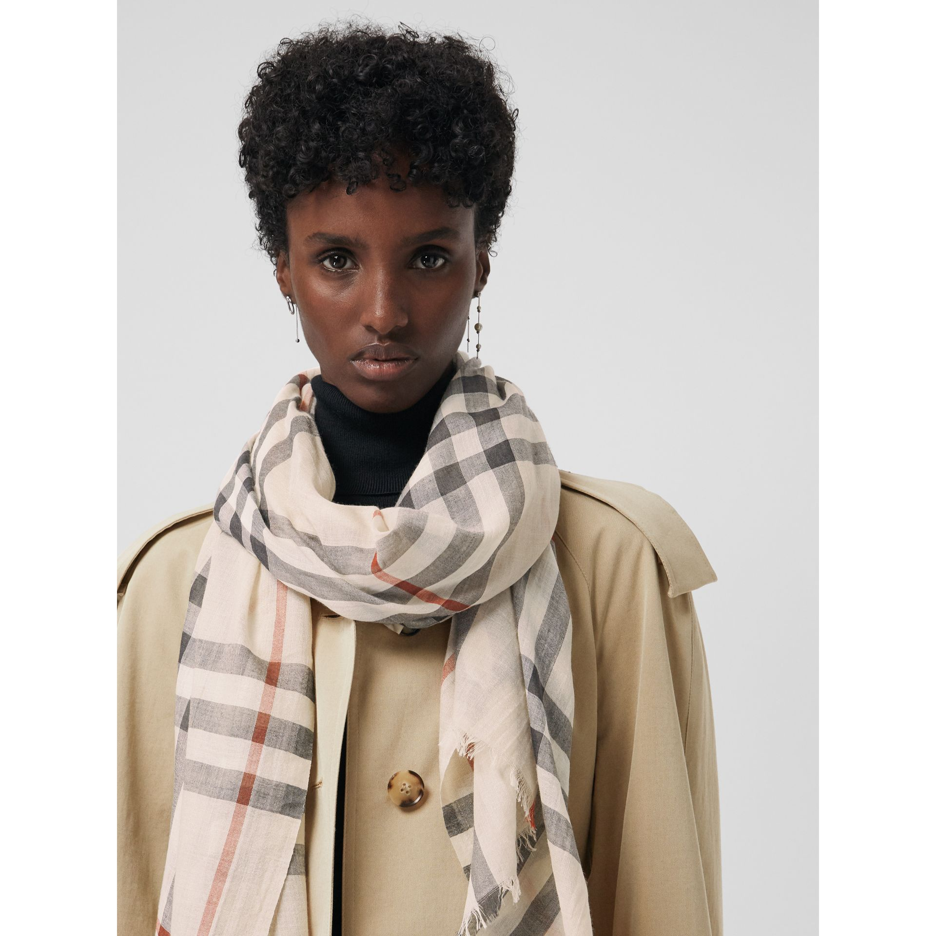 Lightweight Check Wool and Silk Scarf in Stone | Burberry - gallery image 4