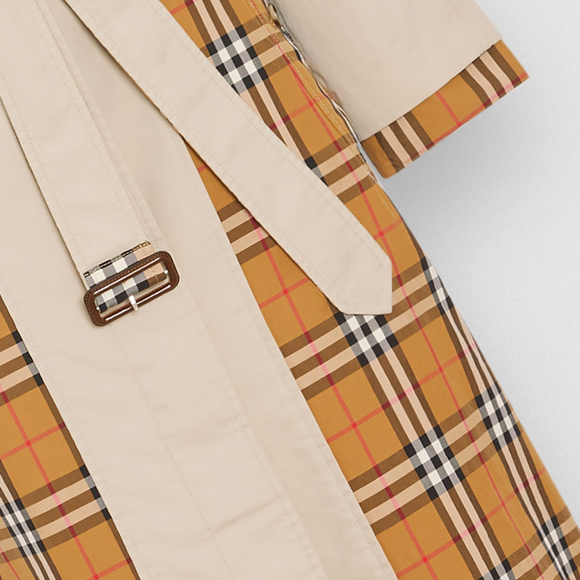 Vintage Check and Tropical Gabardine Car Coat in Stone - Women | Burberry - gallery image 1